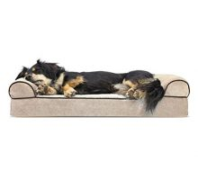 Furhaven Pet Dog Bed | Orthopedic Faux Fleece & Chenille SofaStyle Couch Pet Bed for Dogs & Cats Cream Medium