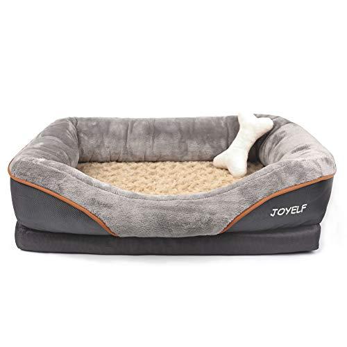 joyelf memory foam dog bed medium orthopedic dog bed sofa removable washable cover squeaker. Black Bedroom Furniture Sets. Home Design Ideas