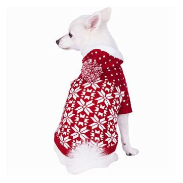Blueberry Pet 6 Patterns Let It Snow Classic Ugly Christmas Holiday Snowflake Pullover Hoodie Dog Sweater in Red and White Back Length 10″ Pack of 1 Clothes for Dogs
