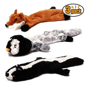 CNMGBB Crinkle Dog Toy No Stuffing Durable Stuffingless Plush Squeaky Animal Dog Chew Toy Set with Fox Skunk and Penguin for Small Medium and Large Dogs Pets 18inch3 Pack