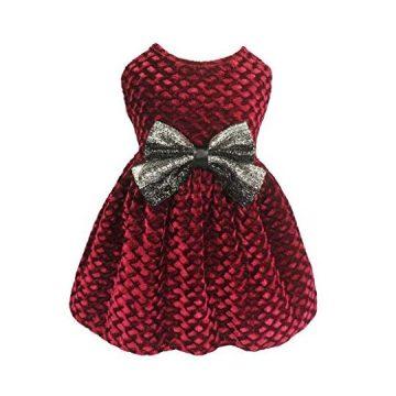 Fitwarm Christmas Dog Dresses for Pet Clothes Cat Vest Dresses Apparel Lightweight Velvet Red Medium