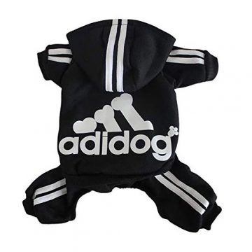 Scheppend Adidog Pet Clothes for Dog Cat Puppy Hoodies Coat Winter Sweatshirt Warm Sweater Dog Outfits Black Large