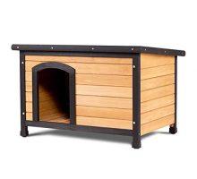 Tangkula Wood Dog House Large Pet Shelter Log Cabin Extreme Weather Resistant Dog House Adjustable Feet(MDog House)