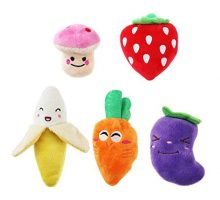 UEETEK Squeaky Dog Toys for Small Dogs Fruits and Vegetables Plush Puppy Dog Toys