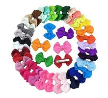 XIMA 35pcs 25inch Grosgrain Ribbon Hair Bows Clips for Dogs Baby Girls Teens Toddlers Hair Accessories