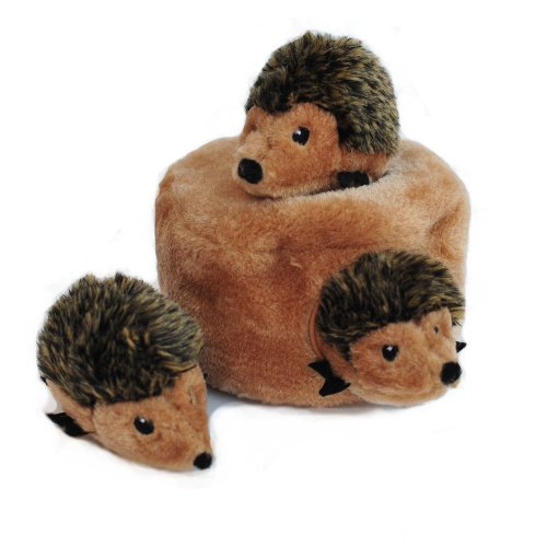 ZippyPaws  Woodland Friends Burrow Interactive Squeaky Hide and Seek Plush Dog Toy  Hedgehog Den