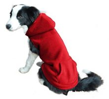 EXPAWLORER Fleece Dog Hoodies with Pocket Cold Weather Spring Vest Sweatshirt with ORing Red L