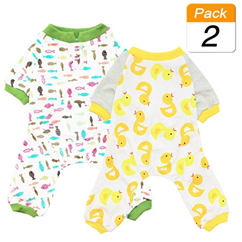 Scheppend 2Pack Pet Clothes Puppy Cute Pajamas Dogs Cotton Rompers Cats Jumpsuits Cosy Apparel Dog Shirt Small Canine Costumes Corsetry Duck & Fish XS