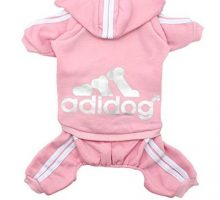 Scheppend Adidog Pet Clothes for Dog Cat Puppy Hoodies Coat Winter Sweatshirt Warm Sweater Dog Outfits Pink Large