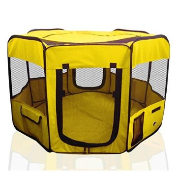 ToysOpoly 45″ Indoor Outdoor Pet Playpen Cage Best Exercise Kennel for Your Dog Cat Rabbit Puppy Hamster or Guinea Pig Portable Pen for Easy Travel