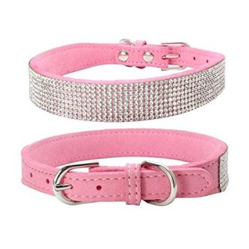 Sunward Bling Rhinestones Dog Collar  Soft Leather Made  Perfect for Pet Show & Daily Walking