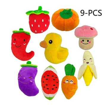 TuhooMall 1215cm  476 Inch Squeaky Fruits and Vegetables Plush Puppy Dog Toys for Small Dogs