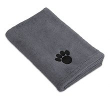 DII Bone Dry Microfiber Pet Bath Towel with Embroidered Paw Print 44×275″ UltraAbsorbent & Machine Washable for Small Medium Large Dogs and CatsGray