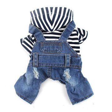 DOGGYZSTYLE Pet Dog Cat Clothes Blue Striped Jeans Jumpsuits OnePiece Jacket Costumes Apparel Hooded Hoodie Coats for Small Puppy Medium Dogs