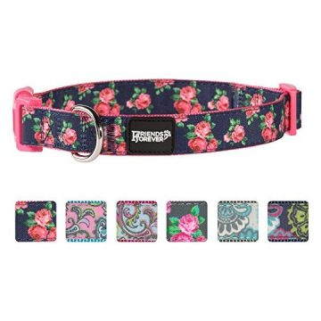 Friends Forever Dog Collar for Dogs Fashion Print Garden Pattern Cute Puppy Collar 1420″ Medium Navy