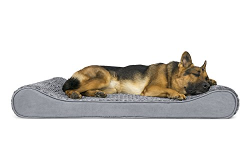 FurHaven Pet Dog Bed | Orthopedic Ultra Plush Luxe Lounger Pet Bed for Dogs & Cats Gray Jumbo