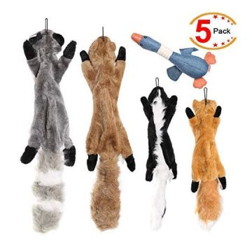 Legend Sandy Plush Animal Dog Toy Set Value Pack 5 Squirrel Squeaky Toys Unstuffed Chew Toys with Storage Bag