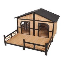 PawHut Wood Raised Outdoor Weatherproof Rustic Log Cabin Style Pet Dog House