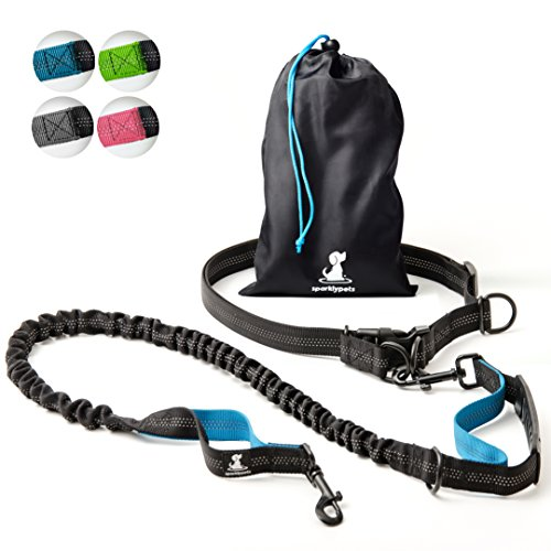 SparklyPets HandsFree Dog Leash for Medium and Large Dogs – Professional Harness with Reflective Stitches for Training Walking Jogging and Running Your Pet