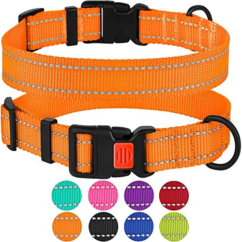 CollarDirect Reflective Dog Collar Safety Nylon Collars for Dogs with Buckle Outdoor Adjustable Puppy Collar Small Medium Large