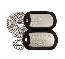 Customized Military Dog Tags  Stainless Steel Dog Tags with Black Silencers