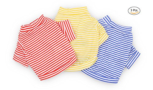 DroolingDog Dog Clothes Pet Striped TShirt Plain Puppy Apparel for Small Dogs Medium Pack of 3