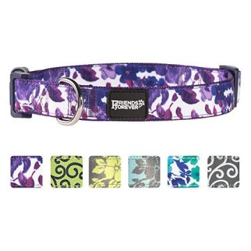 Friends Forever Floral Dog Collar for Dogs Fashion WaterPaint Pattern Cute Puppy Collar 1420″ Medium Purple