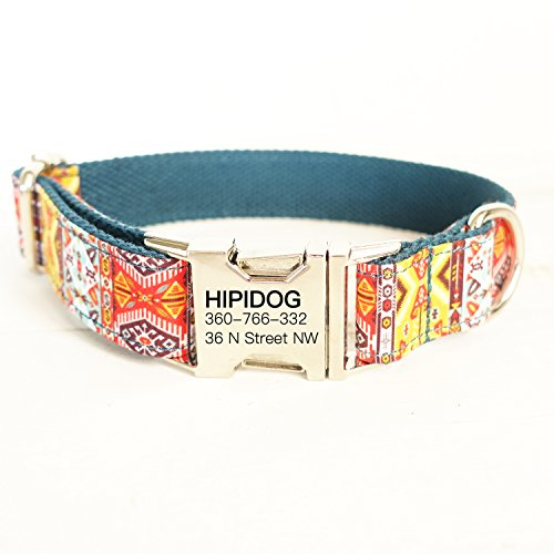 hipidog Personalized Dog Collar Custom Engraving with Pet Name and Phone Number Adjustable Tough Nylon ID Collar Matching Leash Available Separately