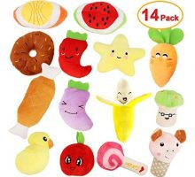 MEEKEEWAY 14 Pack Dog Squeaky Toys Cute Stuffed Plush Fruits Snacks and Vegetables Dog Toys for Puppy Small Dogs