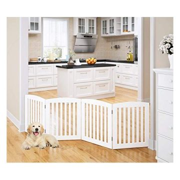 PAWLAND Wooden Freestanding Foldable Pet Gate for Dogs 24 inch 4 Panel Step Over Fence Dog Gate for The House Doorway Stairs Extra Wide White