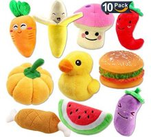 Plush Vegetable Dog Toy Set for Puppy Squeaky Dog Toys 10 Pack Cute Stuffed Fruits and Vegetables Dog Toys for Small Dogs