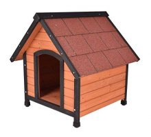 Tangkula Dog House Pet Outdoor Bed Wood Shelter Home Weather Kennel Waterproof 4 Size