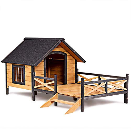 Tangkula Wood Dog House Cabin Style Large Elevated Weather Waterproof Outdoor Pet Dog House Lodge with Porch Spacious Deck for Sunny Nap Wooden Pet Dog House