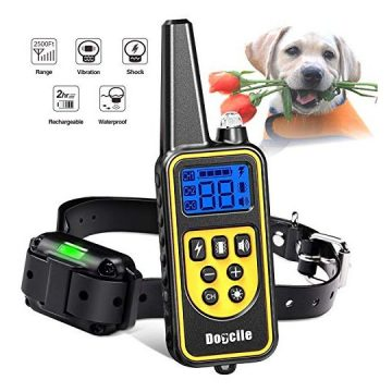 YISENCE Shock Collar for Dogs Dog Shock Collar with Remote 2500FT Range Waterproof and Rechargeable Beep Vibrate and Shock Dog Training Collar with Remote