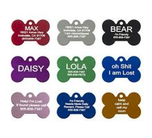Aluminum Pet ID Tags  Engraved Personalized Dog Tags Cat Tags Front & Back up to 8 Lines of Text – Bone Round Heart Flower Paw House Star RectangleShirt Cat Mouse