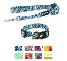 azuza Dog Collar and Leash Set Adjustable Nylon Collar with Matching LeashBlue DiamondSmall