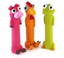 Chiwava 3 Pack 9″ Squeaky Latex Dog Toys Standing Stick Animal Puppy Fetch Interactive Play for Small Medium Dogs
