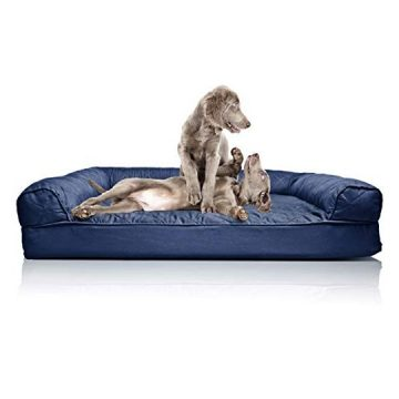 FurHaven Pet Dog Bed | Orthopedic Quilted SofaStyle Couch Pet Bed for Dogs & Cats Navy Jumbo