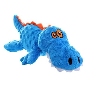 goDog Gators With Chew Guard Technology Tough Plush Dog Toy Blue Large