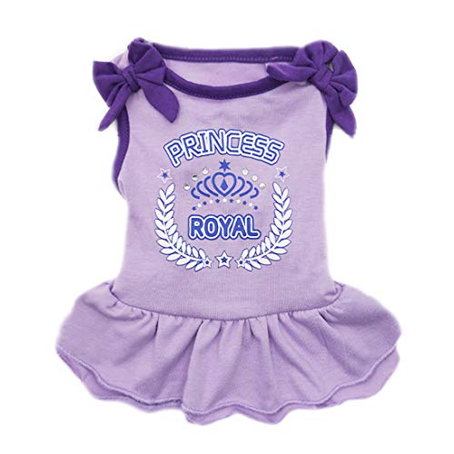 kyeese Dog Princess Dresses Purple Bowtie Pet Apparel for Medium Dogs Vest Shirt Sundress