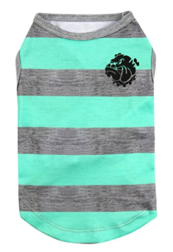 Puppy Face Pet Clothes Apparel Dog Shirts with Wide Light Green and Grey Strips for Small Extra Small Medium Large Extra Large Dog or Cat(XXS XS S M L XL XXL)