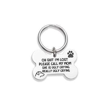 Vanlovemac Funny Dog Tag Bone Engraved Tag Personalized Puppy Pet ID Pet Tags for Dogs Cats Kitten Collar Tag for Pets New Puppy Stainless Steel