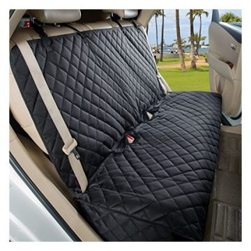 VIEWPETS Bench Car Seat Cover Protector  Waterproof HeavyDuty and Nonslip Pet Car Seat Cover for Dogs with Universal Size Fits for Cars Trucks & SUVs(Black)
