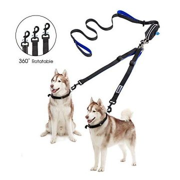 YOUTHINK Double Dog Leash No Tangle Dog Walking Leash 2 Dogs up to 180lbs Comfortable Adjustable Dual Padded Handles Bonus Pet Waste Bag