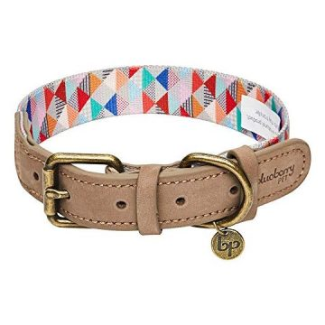 Blueberry Pet 2019 New Shades of Rainbow Multicolor Triangles Polyester Fabric Webbing and Soft Genuine Leather Dog Collar Large Neck 18″22″ Adjustable Collars for Dogs
