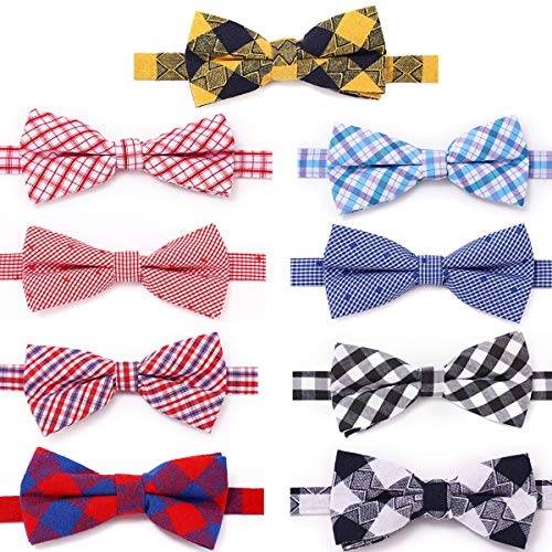 Freewindo Dog Bow Ties 9pcs Pet Bowties Neckties Adjustable Dog Cat Collar Bows Grooming Accessories for Small Medium Large Dogs and Adult Cats