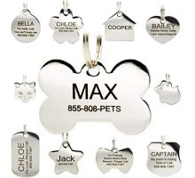 Stainless Steel Pet ID Tags  Engraved Personalized Dog Tags Cat Tags Front & Back up to 8 Lines of Text  Bone Round Heart Flower Badge House Star Rectangle Bow Tie