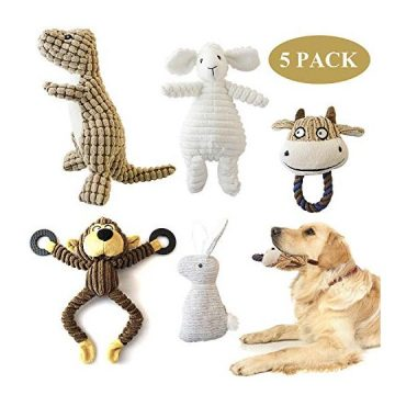 SUNKY 5 Pack Dog Squeaky Toys Durable Squeak Plush Dog Toys Stuffed Plush Pet Toys for Small Medium Large Dogs