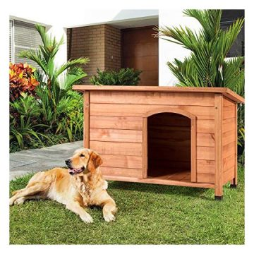 Tangkula Dog House Outdoor WeatherResistant Wooden Log Cabin Home Pet Furniture Pet House with Adjustable Feet & Removable Floor Pet Dog House