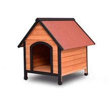 Tangkula Dog House Wooden Pet Kennel Outdoor Weather Waterproof Pet House Natural Wooden Dog House Home with Reddish Brown Roof Pet Dog House